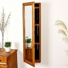 Wall Mount Armoire Jewelry Storage Cabinet Solid Wood Oak Front Beveled Mirror