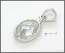 925 Silver Oval European Pendant Charm 11mm CZ #65156