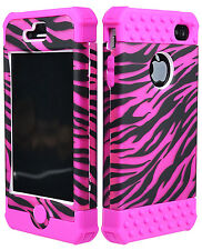 for iPhone 4, 4S Hybrid Zebra Hard / Pink Silicone Case Cover