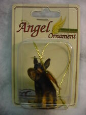MIN PIN dog ANGEL ORNAMENT Figurine NEW Christmas black MINIATURE PINSCHER puppy