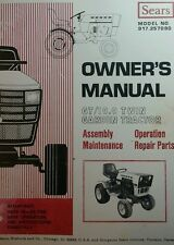 Sears Suburban GT 19.9 Garden Tractor Owner & Parts Manual 36p Riding 20hp Mower