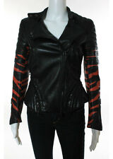 3.1 PHILLIP LIM Black Leather Tiger Stripe Detail Motorcycle Jacket Sz 0