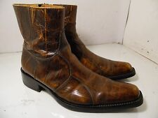 ALDO Brown Distressed Leather Ankle Boots Chukka Side Zipper mens Sz 42
