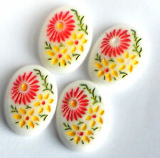 #1053 Vintage Cabochons Pressed Glass Intaglios Floral Cabs13x18mm Chalk White