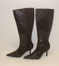 FIORELLI WOMENS POINTY WINTER BOOTS SIZE 9.5 LEATHER LADIES CASSIDY CHOC rrp$279