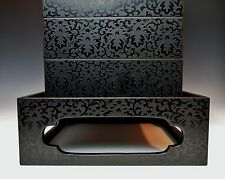 EXQUISITE ANTIQUE JAPANESE STACKING BOX ETCHED LACQUER JUBAKO Fine Meiji Bento