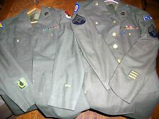 pair 1940's 4-pocket uniforms 35th Infantry AA 2nd & 7th Army ribbons brass