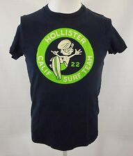 Hollister Calif Surf Team dark blue logo T-shirt Sz S Surfboard Skate CA