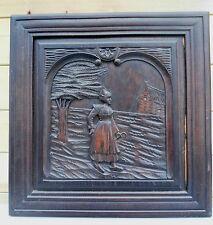 """GRANDE boiserie,panneau ancien bois sculpté  """"art breton """" 57 x  57 cm"""