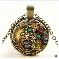 MetalPunk Steampunk Gears Clock Watch-Face Glass Art Pendant Chain Necklace