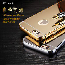 24k Gold Plated Metal Bumper Mirror TPU Back Case Cover For iPhone6 6s 7 Plus