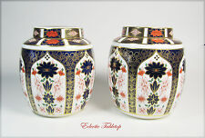 Pair Large ROYAL CROWN DERBY Old Imari Ginger Jars - Mint!