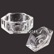 Durable Nail Art Acrylic Crystal Glass Lid Bowl Cup Liquid Powder Container KZ U