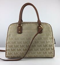NWT $398 MICHAEL KORS Large Camel MK Signature Jacquard Leather Satchel Bag Tote