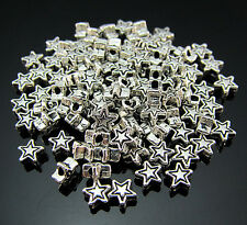 FREE 100PCS Crafts Tibetan silver Star Jewelry Findings spacer Loose beads 4MM