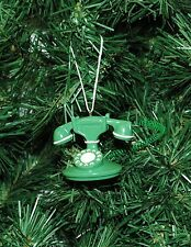 Vintage, Antique Looking Green Telephone Christmas Ornament