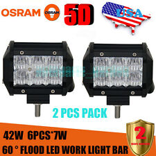 2X  5D OSRAM 4inch 42W Led Light Bar Flood Work Light 4WD Off-road Driving Lamp