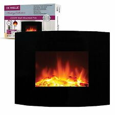 De Vielle Electric Wall Mounted 1400W Log Effect Real Flame Effect Fire Suite