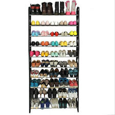 50 Pair 10 Tier Shoe Tower Rack Organizer Space Saving Shoe Rack Stainless