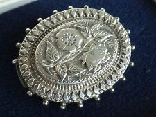 Vintage jewellery oval silver rose brooch 1.5 inches
