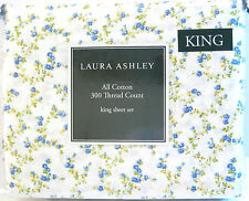 Laura Ashley 4 PC Cotton Sheet Set Peggy Floral Blue Yellow White King - NEW