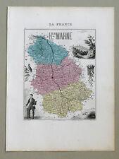 HAUTE MARNE Carte géographique Vuillemin Atlas Migeon CHAUMONT DIDEROT LANGRES