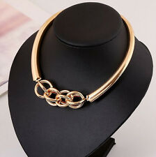 Charm Luxury Metal Ring Cluster Loop Link Collar  Chunky short Necklace