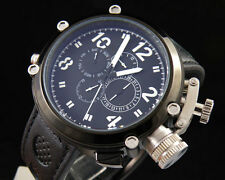 Parnis 50mm PVD solid Big Face black dial automatic mens watch P257