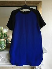 H&M Cobalt Blue Black Crepe Colour Block Shift Dress With Mesh Inserts - Size 12