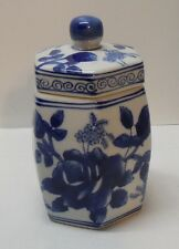 Blue and White Porcelain Lidded Jar Roses Butterflies Chinese Signed Vintage