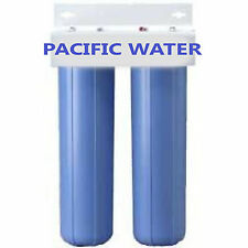 """DUAL BIG BLUE WATER FILTERS HOUSING/Canister For 4.5"""" X 20"""" Filter with 1""""NPT"""