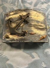Blue Wooden Key Cupboard Used with Nautical Anchor and Sea Shells Design