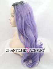 Ombre Synthetic Hair Front Lace Wigs Dark Roots&Purple Long Natural Wavy Heat Ok
