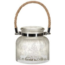 New Frosted Glass Candle Jar Lantern Tealight holder with Rope Handle - 3 colour