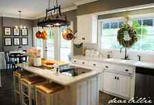 Gourmet Rubbed Bronze Kitchen Island 2 light ceiling pot pan storage rack 6hooks