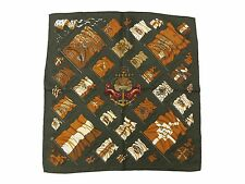 Auth Excellent HERMES Petit Scarf 100% Silk PAVOIS Khaki Multi-Color Good 35723
