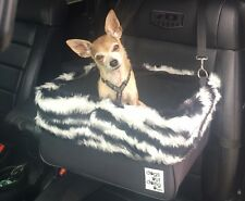 "Small Black Dog Car Booster Seat (""Zebra"" black lining) Dogs Out Doing *"