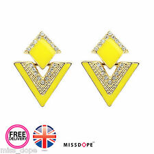 NEW Yellow Triangle Diamond Crystal Earrings Stud Womens Gold Womens Ladies UK