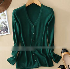 New Lady thin Cashmere short V collar Sweater Women Stretch Knit Cardigans Gift