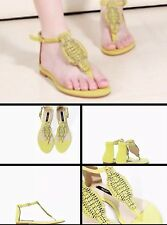 ZARA Neon Yellow Lime Green Jewelled Sandals Embellished Diamanté UK 5 Euro 38