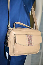 NWT $248 COLE HAAN Savannah Crossbody Handbag Nude Camel Leather Snakeskin pane