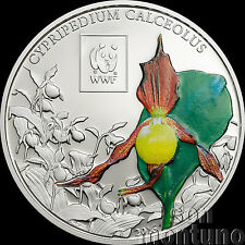 2016 Tanzania - LADY'S SLIPPER ORCHID - Silver Plated COPPER Coin WWF Africa