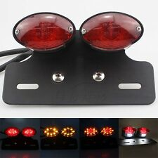 Motorcycle Cat Eye LED Brake License Plate Bracket Taillight With Turn Signals