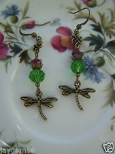 THISTLE AND DRAGONFLY CELTIC SCOTTISH THEMED EARRINGS Outlander