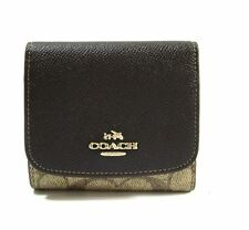 NWT Coach 53762 Colorblock Khaki Brown Mahogany Coated Canvas Wallet $99 receipt