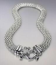 NEW Designer Inspired Silver Mesh Black Onyx CZ Pave Crystals Buckle NECKLACE
