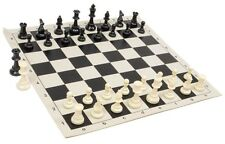 "New Regulation Black & White Chess Pieces & 20"" Black Vinyl Board- Single Weight"