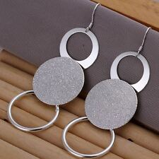 925 Sterling Silver Earrings Drop Dangle Round Textured Disc Ladies Women