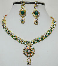 Designer Gold Plated Diamond Kundan Party Ethnic Necklace Earring Jewellery Set
