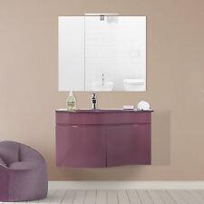 Mobile bagno marsala sospeso moderno composizione con lavabo e specchiera slim